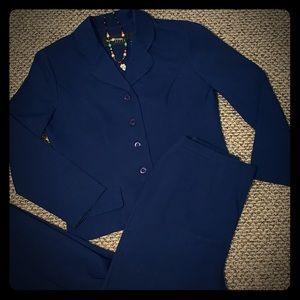 Sag Harbor Navy Blue Petite Pant Suit